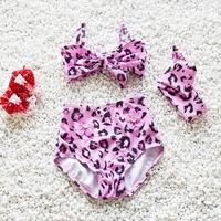 2017 Summer New Girl Swimwear Leopard Bow Hot spring Bikini Fashion Two Piece Swimming Suit + Headband 70-110cm 9104