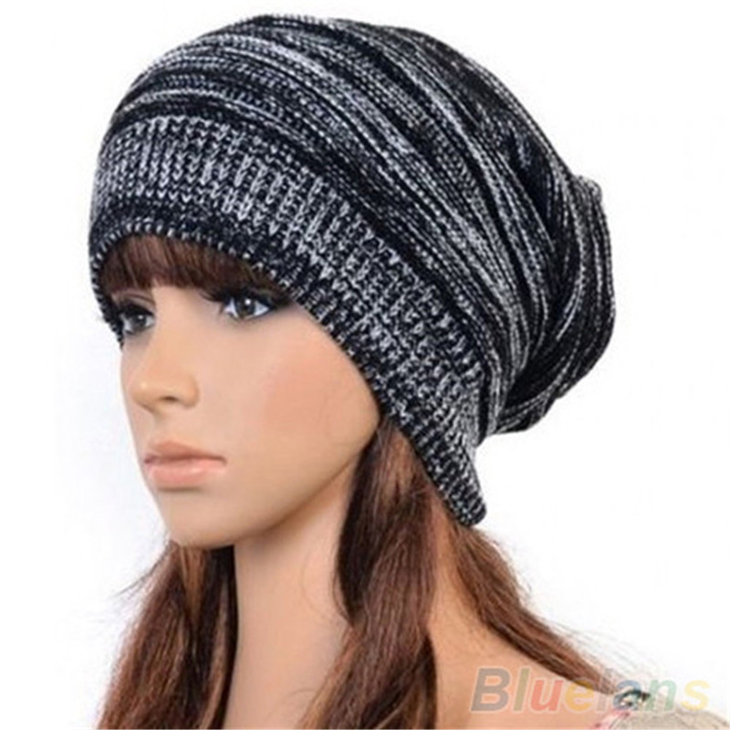 New Unisex Womens Mens Knit Baggy Beanie Hat Winter Warm Oversized Cap 2016 new hot unisex winter plicate baggy beanie knit crochet hat oversized cap