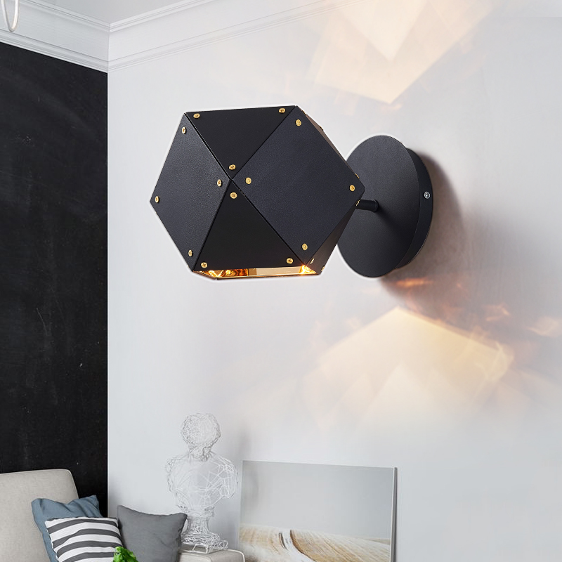 Nordic Metal Welles Wall Lamp modern creative DNA Wall Sconces Bedroom Bedside Black Wall Lights Fixtures Home Decor Lamp balex w15110776719