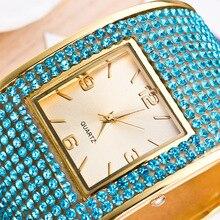 Pulseira Relógios Vestido da Senhora das Mulheres de luxo Relógios de Pulso de Quartzo De Cristal Rhinstone Pulseira Relogio feminino Presente Do Amante