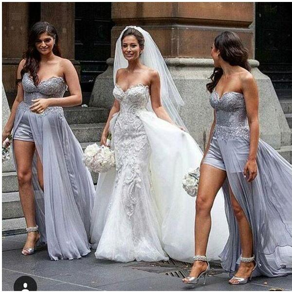 Steven Khalil Amazing Silver Lace Chiffon Beach Bridesmaid Dresses