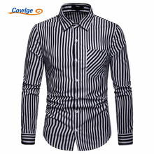 Covrlge New Long Sleeve Men Shirts British Style Formal Dress Shirt Male Fashion Slim Fit Striped Casual MCL187