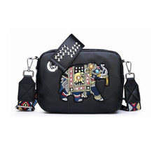 Ethnic Style Female Handbags New Elephant Embroidery Rivet Portable Bag Double Ladies Shoulder Messenger Diamond Sheepskin Bags(China)