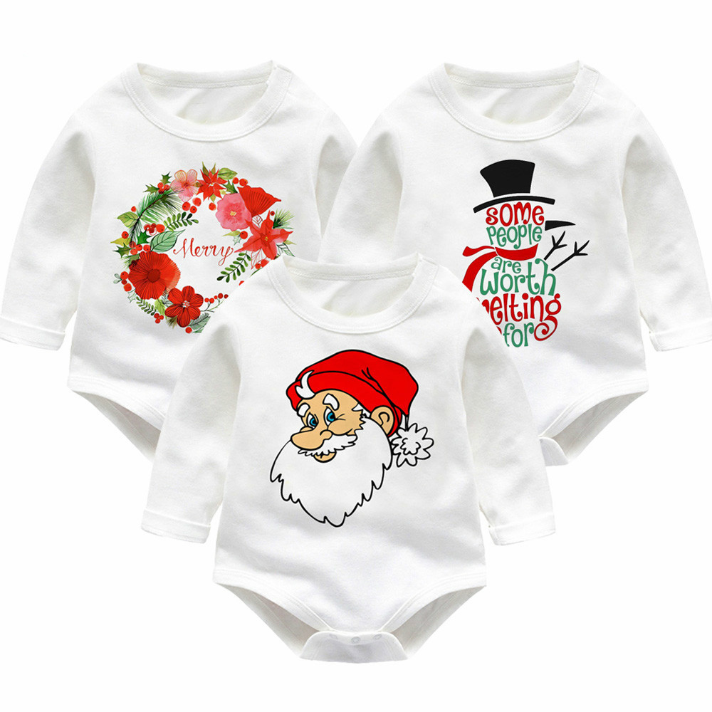 Christmas Newborn Baby Rompers Infant Boy Girl Clothes Long Sleeve Cotton Winter Babies Onsie Kids Costume Boys Girls Jumpsuit newborn infant baby boy girl cotton romper jumpsuit boys girl angel wings long sleeve rompers white gray autumn clothes outfit