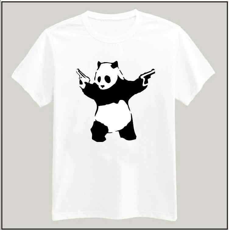 カン フー パンダ銃女性tシャツ最新シャツ ヒップ スター カジュアル綿用ビッグ サイズ トップ tシャツ camiseta ドロップ船BZ205-13