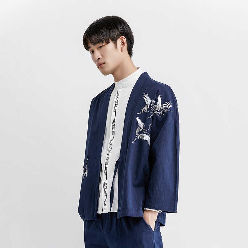 MR-DONOO 夏中国風の着物薄型コートヴィンテージ日本のカーディガンシャツビッグサイズ M-5XL ショールストリート Breakwear QT4018