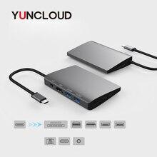 YUNCLOUD C USB 3.1 HUB Adaptador Mini DP para HDMI 4 k com Gigabit Ethernet Tipo C Entrega de Potência SD /TF Para Samsung Galaxy S9 S8