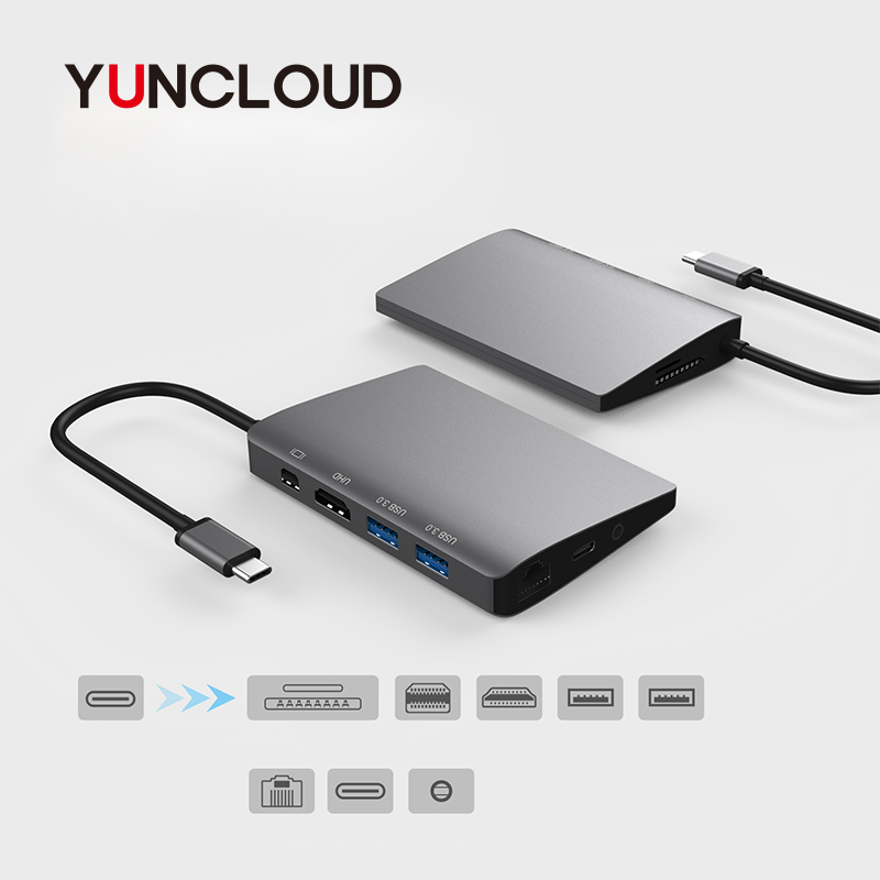 YUNCLOUD USB C 3.1 HUB to HDMI 4K Mini DP Adapter with Gigabit Ethernet Type C Power Delivery SD/TF For Samsung Galaxy S9 S8