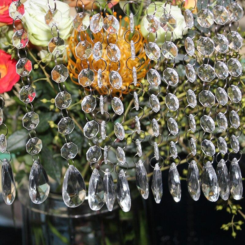 60 String 17.5cm Teardrop Acrylic Crystal Beads Curtain Chandelier Garland Pendant Wedding Party Decoration Christmas Home Decor
