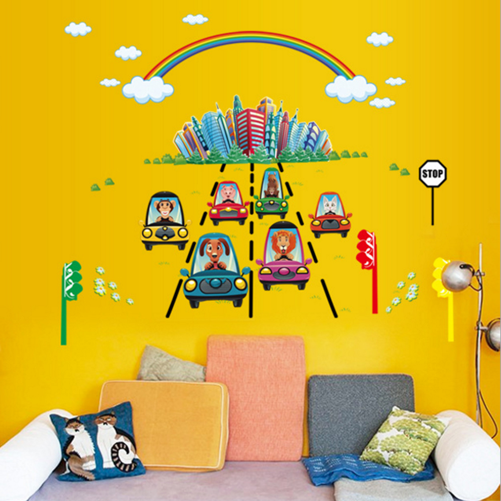 Cartoon Animals Cars Rainbow Wall Decal Home Sticker Paper Removable ...