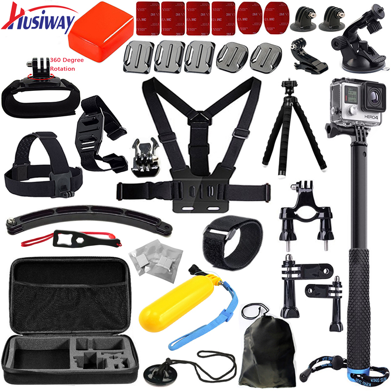 Husiway Pour tous gopro accessoires set kit montage pour Aller pro hero3 Black Edition/gopro hero 6/5/4/3/2/xiaoyi mi 13E