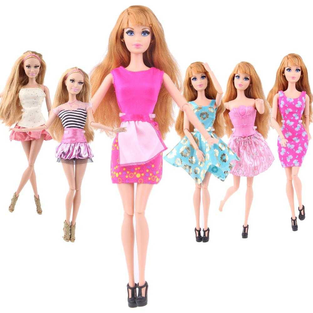 Ucanaan Randomly Decide Garments A Lot = 10 Units Vogue Girl Outfit Put on Shirt Trousers Shorts Pant Skirt Garments for Barbie Doll