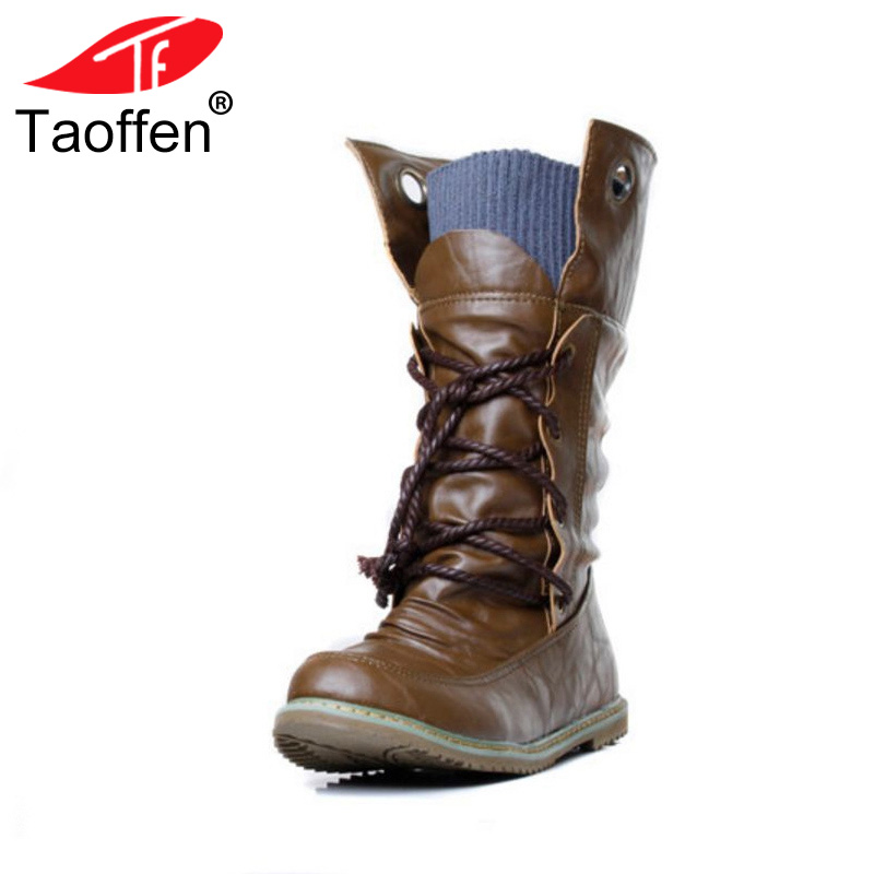 TAOFFEN women falt half short ankle boots winter botas footwear cross strap round bohemia toe warm boot shoes P19357 size 34-43 радиоприемник telefunken tf 1571
