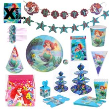 Little Mermaid Princess Paper tableware Plate Cup Banner Napkin Invitation Tablecloth Balloon Bag Favor Party Birthday Gift(China)