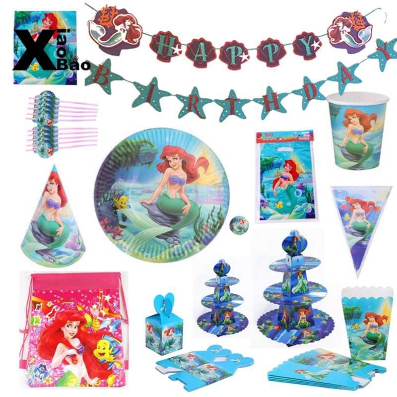 Mała syrenka księżniczka naczynia papierowe płyta kubek Banner serwetka zaproszenie obrus balon torba Favor Party urodziny prezent