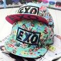 New 2014 Brand Design Colorful Flowers Print Snapback Fashion Words EXO Baseball Cap Women & Men Hip-Hop Hats Adjustable
