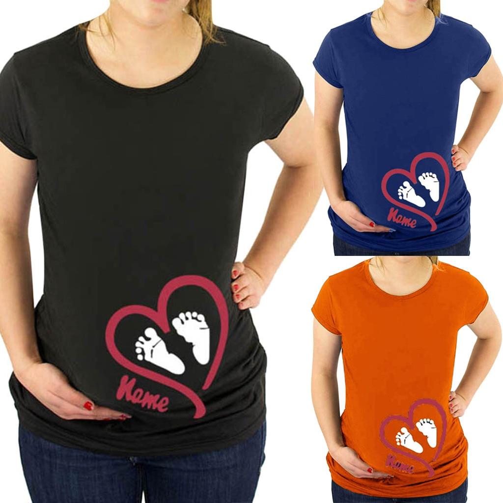 2019 Neuer Stil Ishowtienda Frauen Große Größe Digitale Footprint Liebe Druck Kurzarm Schwangere T-shirtropa De Maternidad Embarazo