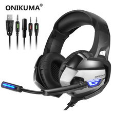 ONIKUMA K5 Gaming Headset Gamer Casque Deep Bass Gaming Headphones for PS4 Computer PC Laptop Notebook with Microphone LED Light