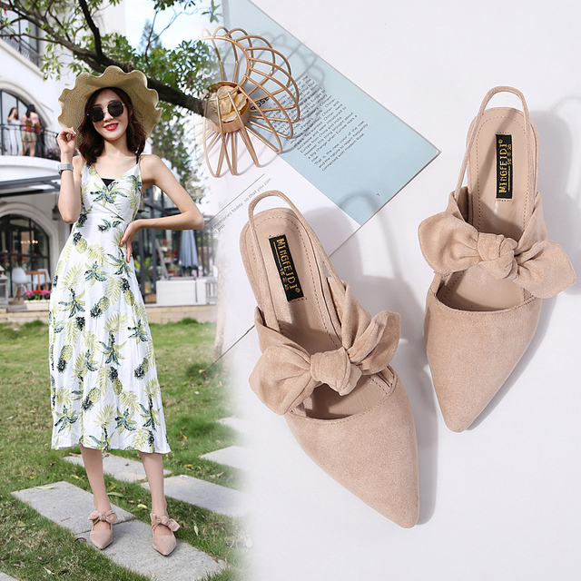 2019 Summer Square High Heels Sandals Shoes Woman Flock Pointed Toe Butterfly-Knot High Heels Pumps Female Sandals Wedding Shoes