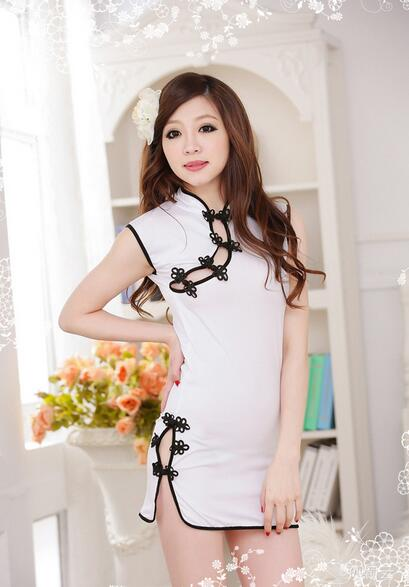Sexy lingerie white traditional cheongsam women hot sleepwear dress