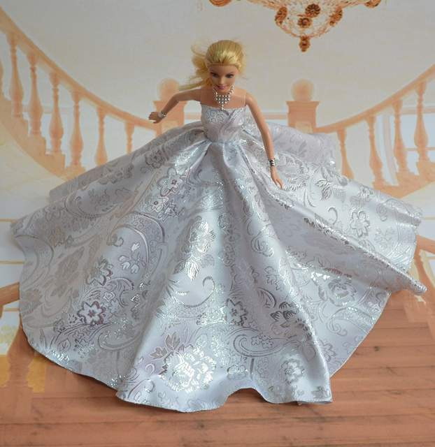 d910c6db80 US $2.18 9% OFF|Vetements For Barbie Doll clothes Girls Gift pullip  clothing Princess party dress Silver wedding 1/6 Doll Accessories-in Dolls  ...