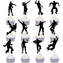 24pcs/lot black Cake topper flags Dessert decoration happy birthday party decoration kids boys Party supplies set supplier Hot(China)