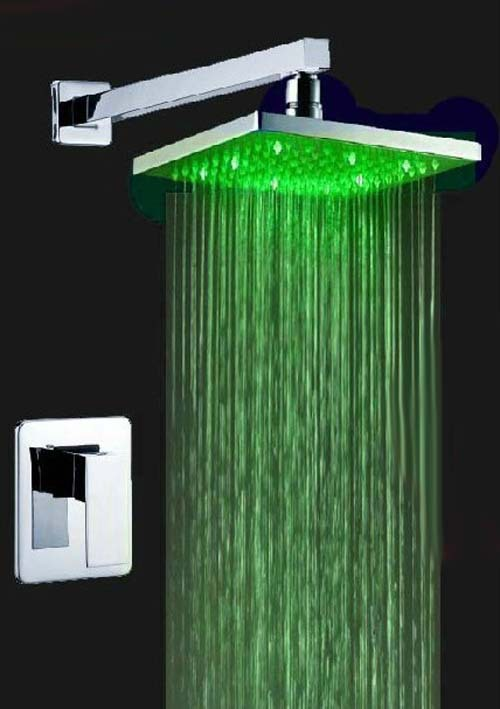ФОТО Fashion Soild Brass LED Shower Faucet 8inch ABS Three Color Changing Shower Head