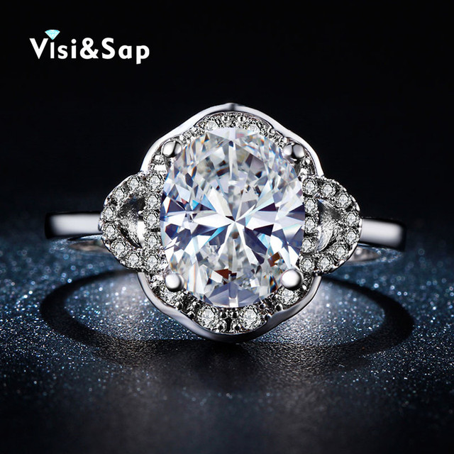 Visisap White gold color rings cubic zirconia jewelry Oval stone