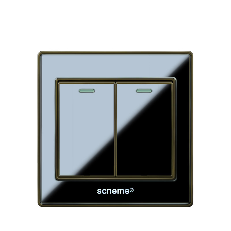 2 gang 1 way light switch and AC110-250V lamp pull switch,UK Standard wall switch,220V-250V push button switch with fluorescent