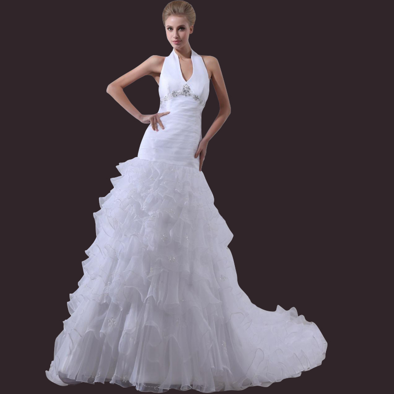 Bridal Gowns With Halter Neck : Popular halter neck wedding gown buy cheap