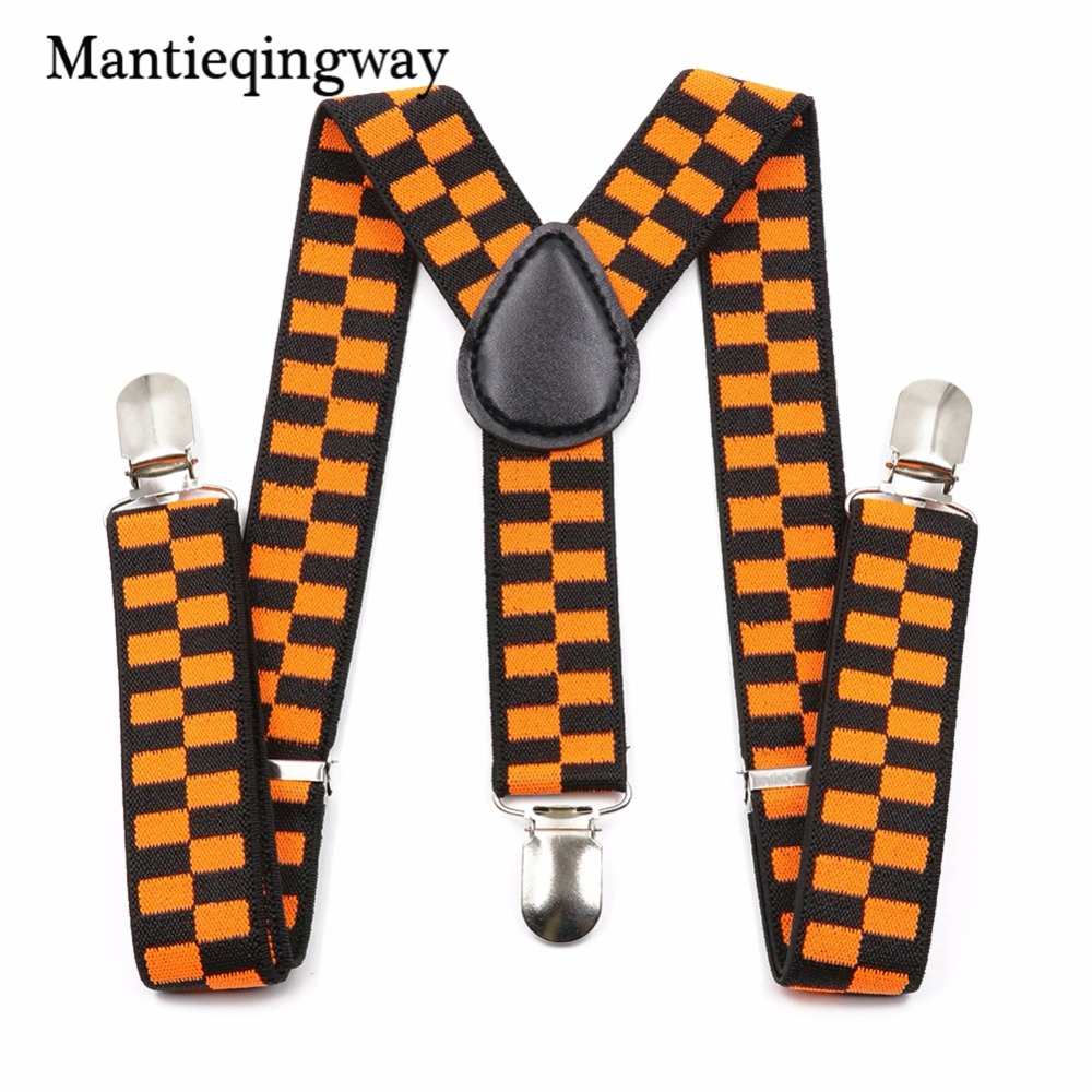 Mantieqingway Brand Children Party Suits Baby Elastic Lattice Plaid Suspenders 3 Clip Kids Suspenders For Boys Belt Strap Braces