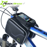 RockBros Bicycle Cycling Pannier Cell Phone Smartphone Case Bag Carbon Pattern Waterproof Bike Frame Front Head