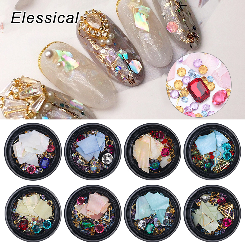 Elessical Colorful Mix Shell Nail Glitter Rhinestone For Decoration Nails Art Gold Studs Rivet Triangle DIY Box Nail Accessories