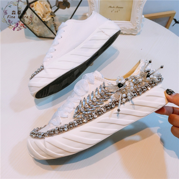 European station new water drill heavy industry pure manual string pearl flat bottom canvas shoes 100
