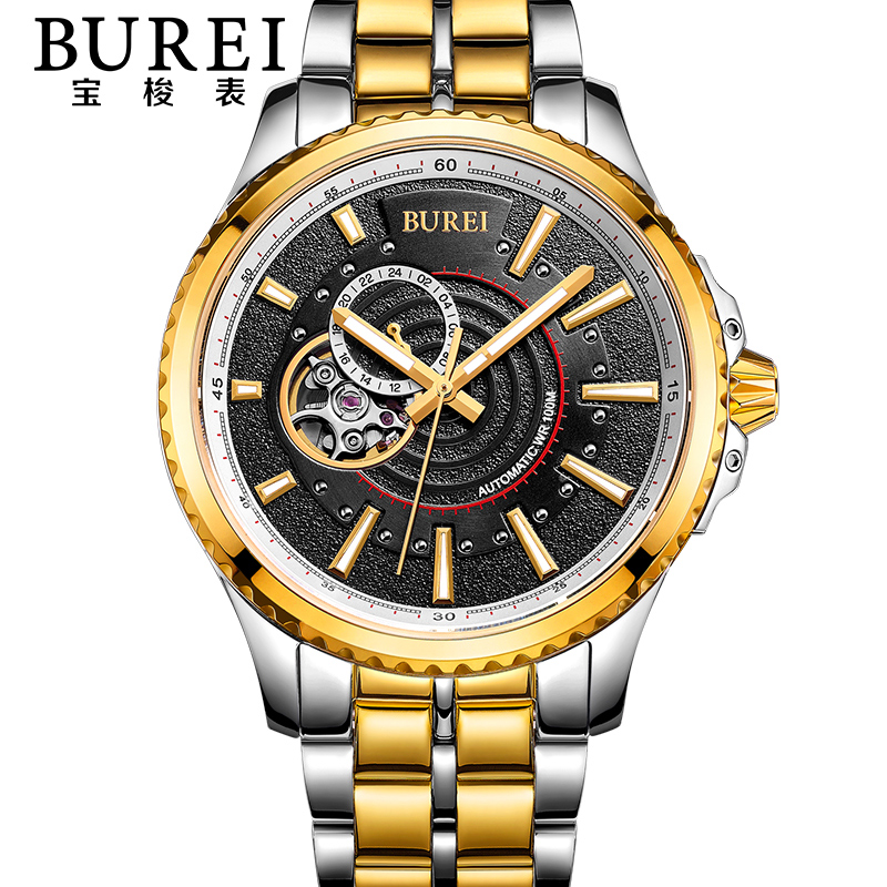 BUREI Brand Crystal Sapphire Men Sports Automatic Mechanical Watch Waterproof Male Wristwatches With Premiums Package 15009 цена