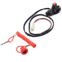 Mayitr 1PC Motorcycle Red Safety Tether Line Engine Kill Push Button switch For Motor ATV Boat 50cc-150cc 4 wheeler
