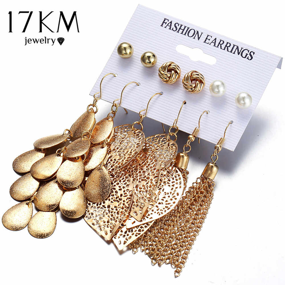 17KM Bohemia Leaves Tassel Long Drop Earrings For Women Multilayer Sequins Simulated Pearl Beads Earring Set Statement Jewelry