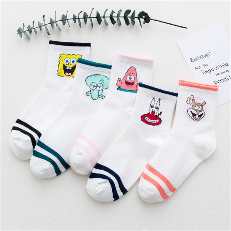 White Sox Cartoon Character Printed women cotton   socks   harajuku Striped   socks   Ladies Fashion Female Cute Unisex Skatebord   Socks