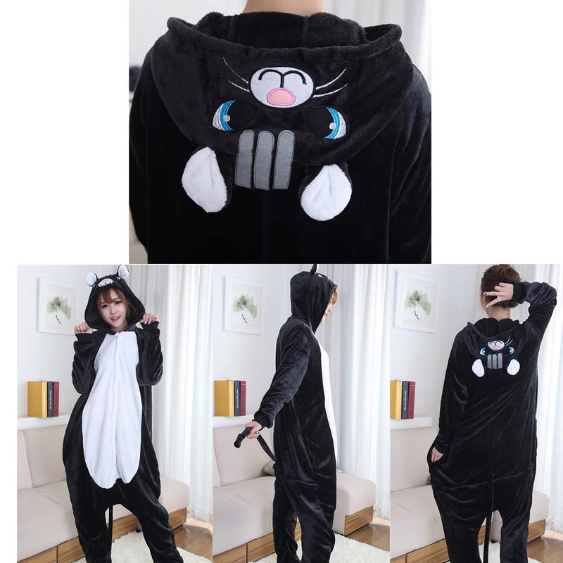 black cat onesie kigurumi pajamas