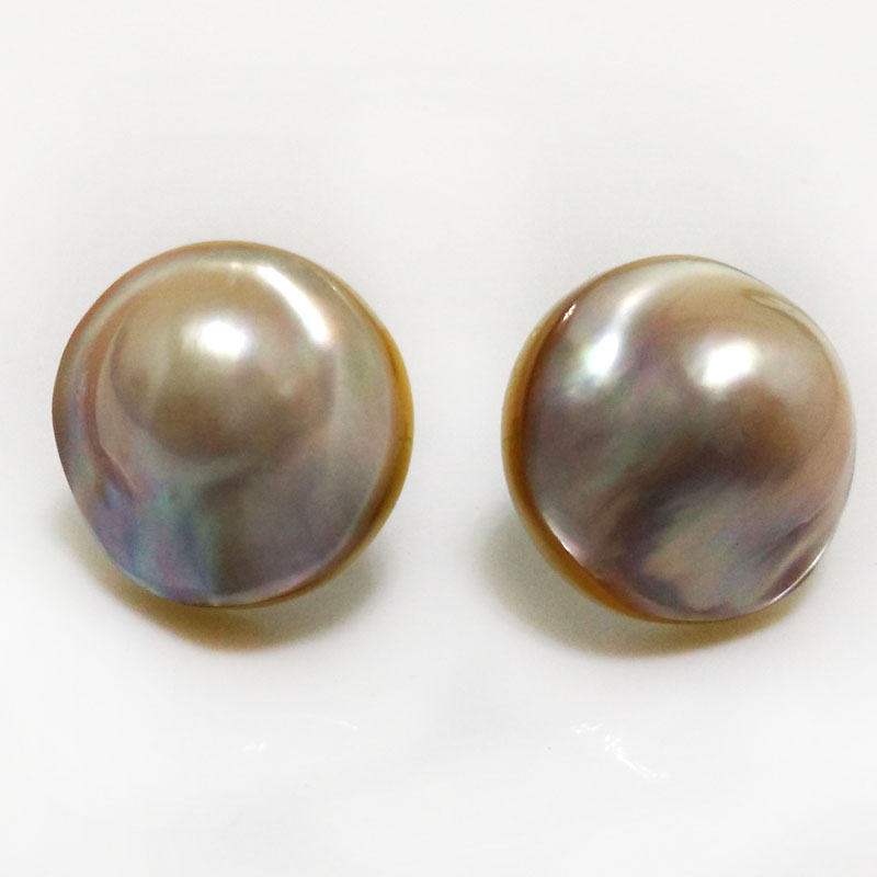 22mm Natural AAA White Natural Rondelle Sea Water Mabe Pearl Earring with 925 Sterling Silver Stud