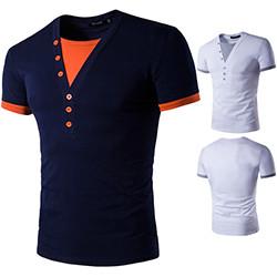 2017-Short-Sleeve-Fake-Two-T-Shirt-V-Neck-Slim-Men-T-Shirt-Camisetas-Fashion-Hombre