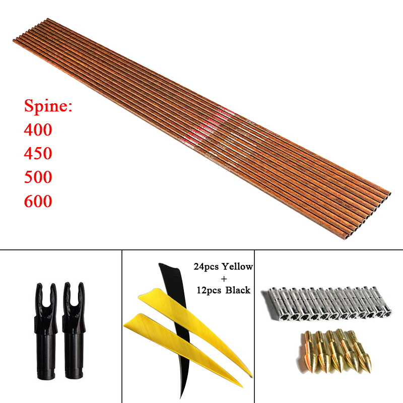 Linkboy Archery 12Pcs 32 Spine400 600 Pure Carbon Arrow Shafts ID6 2mm 5 Turkey Feather Insert