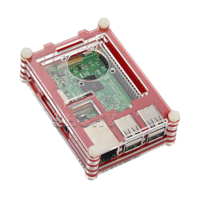 Raspberry Pie Shell Raspberry PI3 Shell 9 Layers of Acrylic Shell Double Color Assembly Can Be Installed Fan
