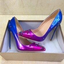 цена на Sexy High Heel Shoes Purple Blue Gradient Color Spike Heels Women Pumps Pointed Toe Slip-on Rivets Stilettos Shoes for Women