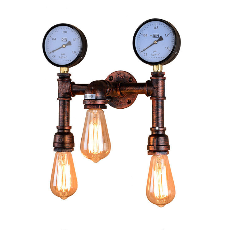 American country retro bedroom water pipe wall lamp industrial bar lighting personality balcony aisle Restaurant E27 wall light