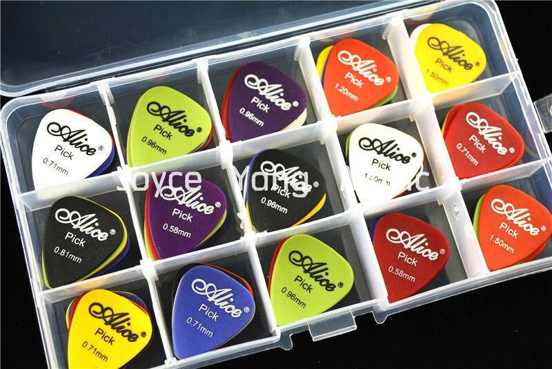 100pcs Alice Matte Acoustic Electric Guitar Picks Plectrums+1 Large Plastic Picks Holder Case Box Free Shipping