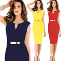 Пульс Размер 4XL 2016 Лето Дамы Офисные Платья Женщин Работа Vestidos Платье Карандаша Черный \ Синий \ Красный \ Желтый цвет Одежды