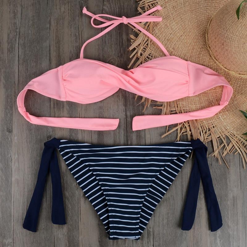 Women Neon Sexy Swim Wear Striped Swimwear Brazilian Bikini Cross Bandeau Beach Wear Halter Swimsuit Push