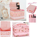 2016 Lovely Pink Cherry Lace Bow Vanity Organizer Storage Bag Cosmetic Travel Handbag Case Christmas Girls Gift Makeup Tool Kit