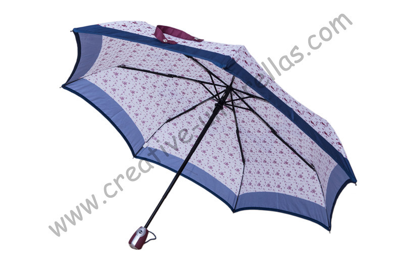 Fully automatic,7 ribs,three fold auto open&auto close full print stars umbrellas,steel shaft pocket parasol,fiberglass U-groove